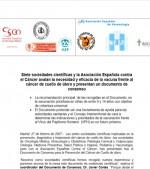 Siete sociedades científicas y la Asociación Española contra el Cáncer avalan la necesidad y eficacia de la vacuna frente al cáncer de cuello de útero y presentan un documento de consenso
